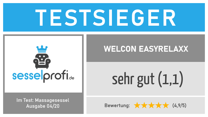 Sesselprofi.de-Siegel: Massagesessel Testsieger (Testnote: 1,1 - sehr gut)